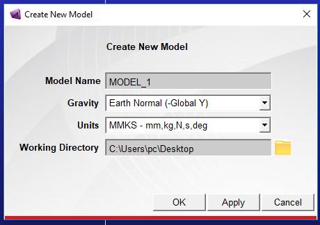 پنجره Create New Model